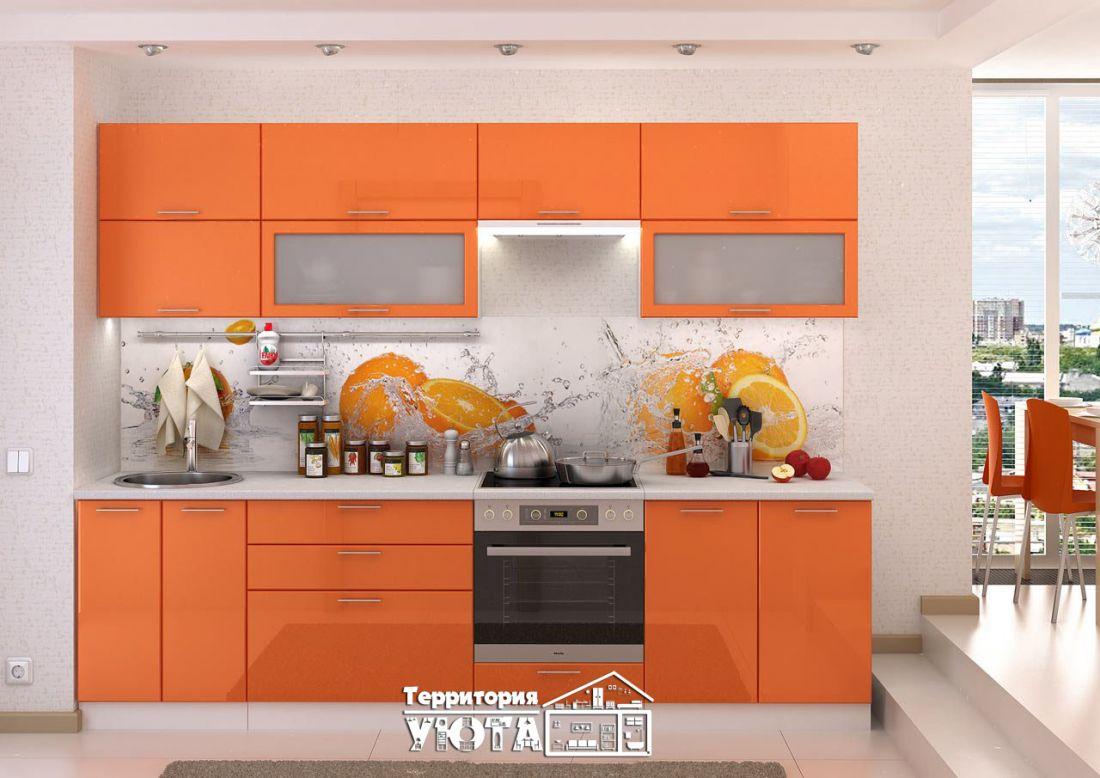 Кухонный гарнитур Ксения оранжевая 2,8м