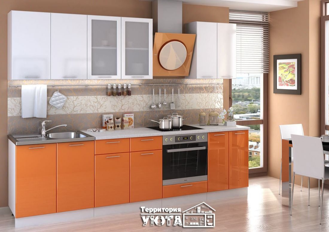 Кухня КСЕНИЯ МДФ 2,8м Оранжевая 2,8м