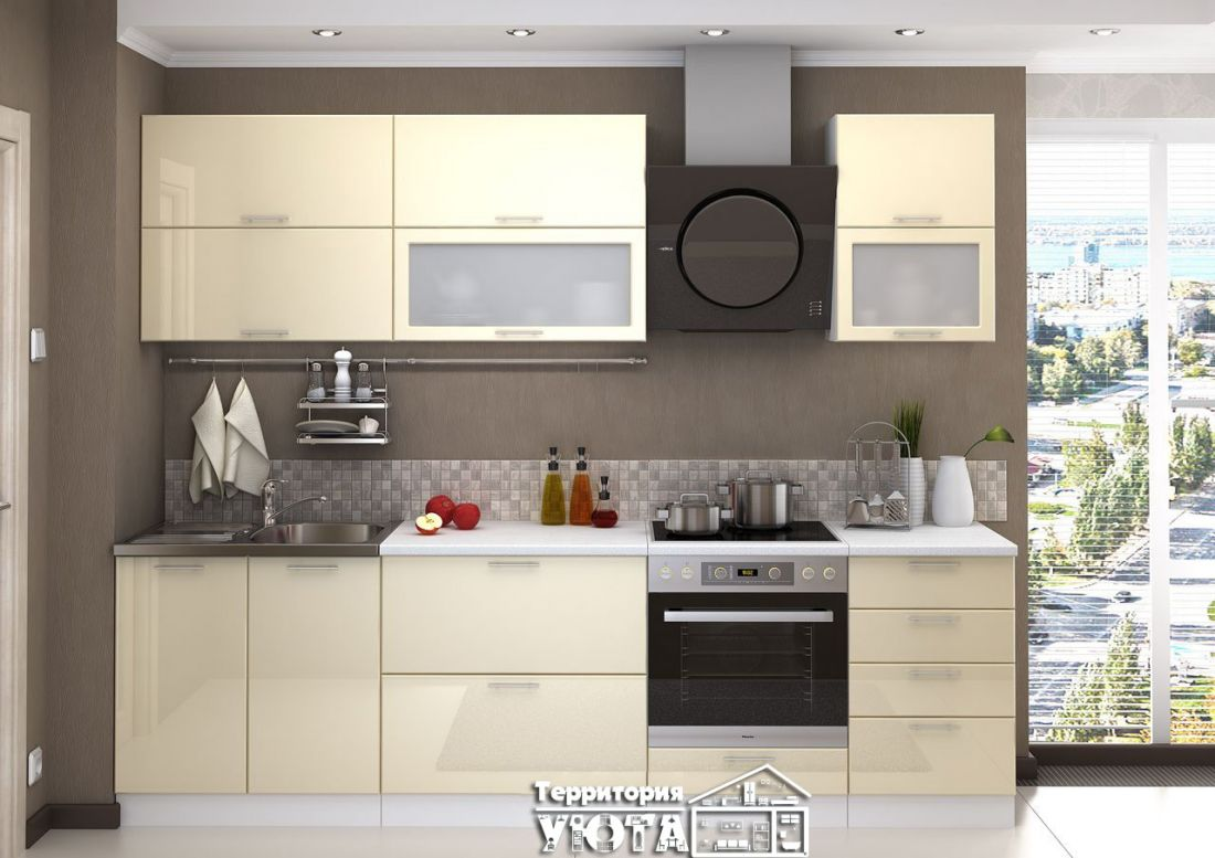 Кухня КСЕНИЯ МДФ 2,7м Белый глянец