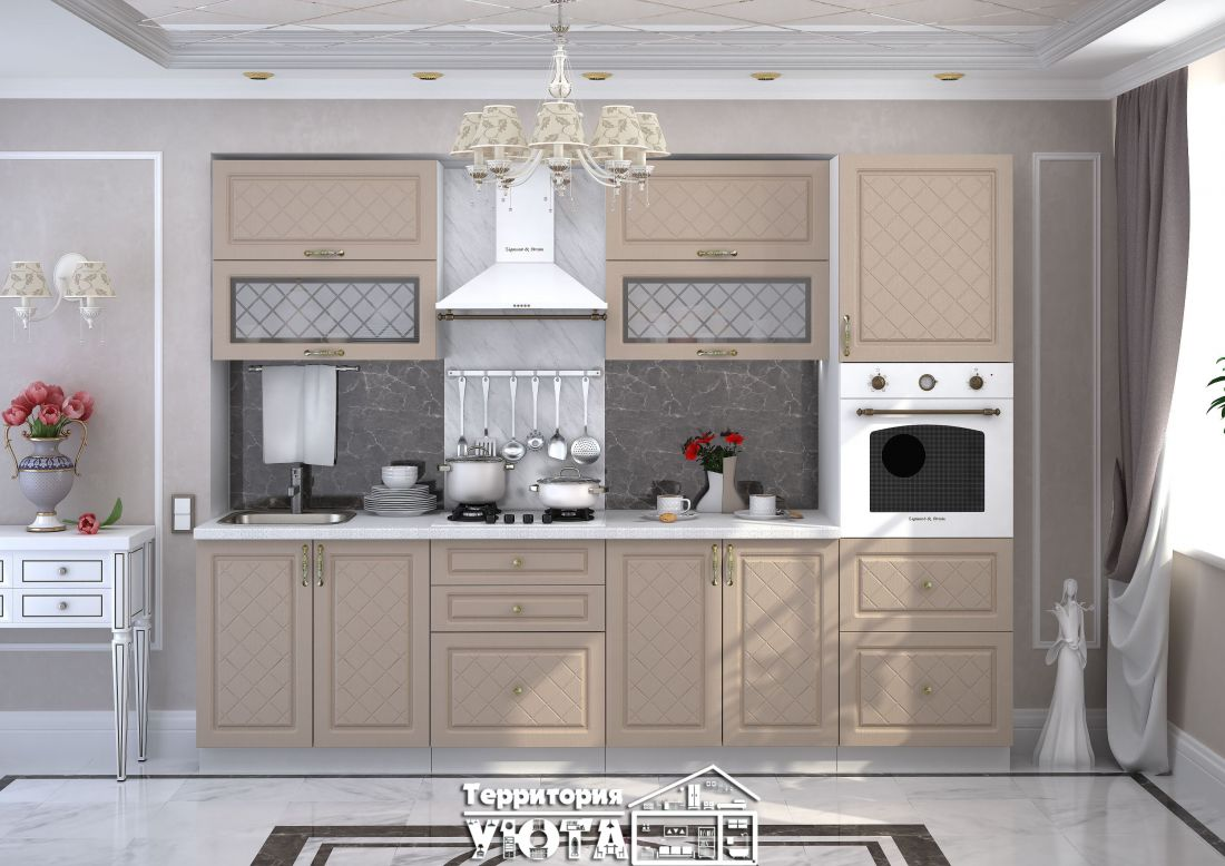 Кухонный гарнитур Модена дуб / кофе 2,8м