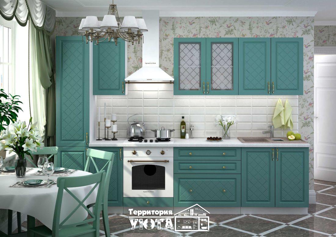 Кухонный гарнитур Модена дуб/бирюза 3,0м