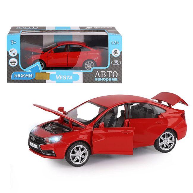 Модель LADA VESTA седан,цвет красный 1:24 Автопанорама