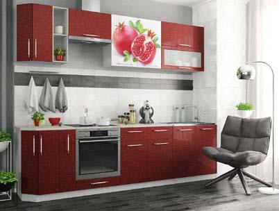 Кухонный гарнитур Гранат фотопечать/гранат металлик 2,8м