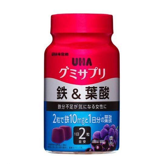 UHA Железо + Фолиевая кислота со вкусом ягод Асаи, 30 дней