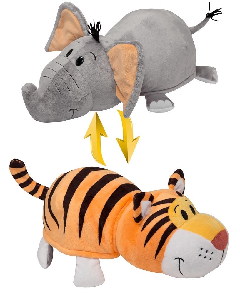 Мягкая игрушка Вывернушка 2 в 1 1 TOY - Тигр - Слон, 40 см