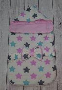 """Конверт с треугольным верхом (комплект) """"Пряники для девочек/горошек на розовом"""" деми"""