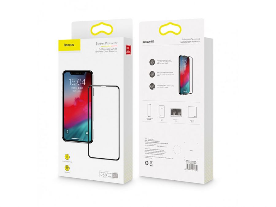 Стекло Baseus 0.3mm Full coverage curved tempered glass protector For iPXSm 6.5 2018 черное