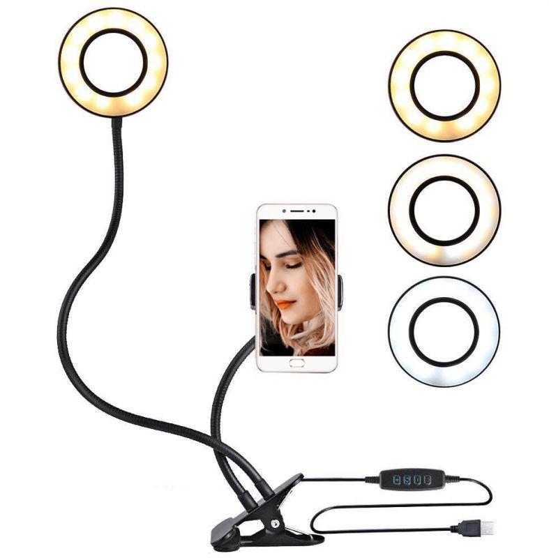 Гибкая светодиодная кольцевая лампа с держателем смартфона Professional Live Stream