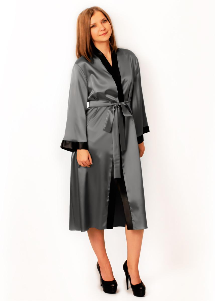Атласный халат Адель (серый)