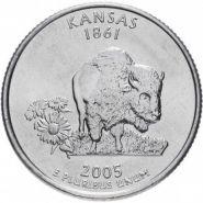 ХАЛЯВА!!! 25 центов США 2005г - КАНЗАС, VF- Серия Штаты и территории