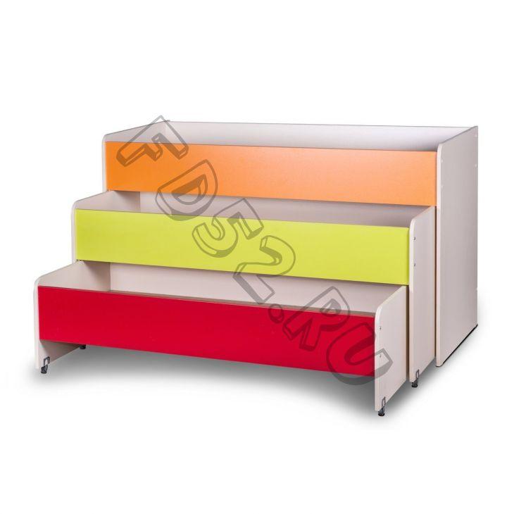 Кровать детская раздвижная 3 яруса цветная МАТРЕШКА-1