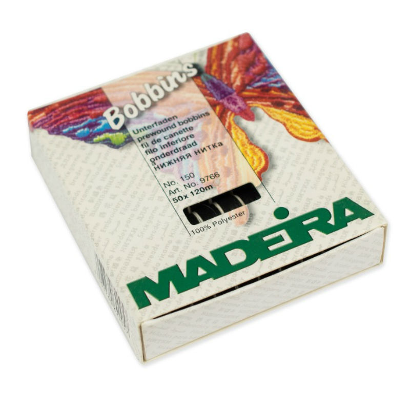 Нижняя нить на шпулях Madeira Bobbins № 150 (50 х 120м). Чёрная