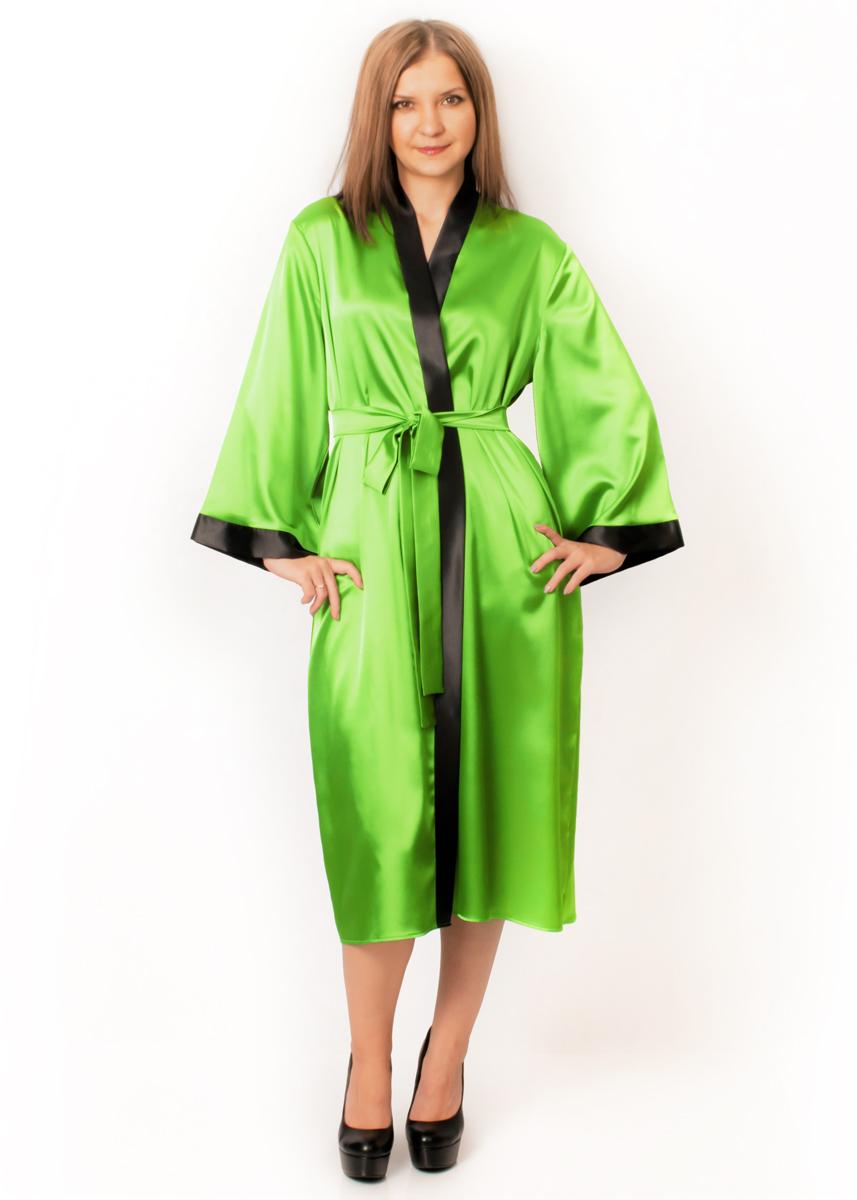 Атласный халат Адель (ярко-зеленый)