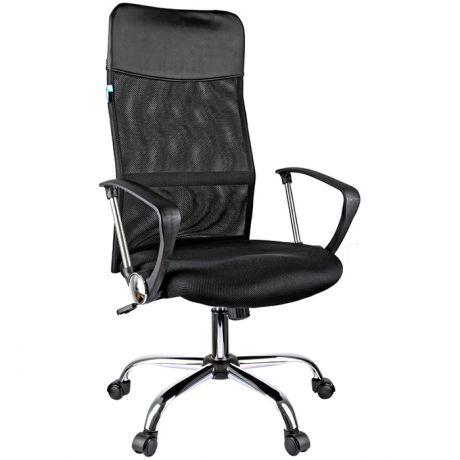 """Кресло руководителя Helmi HL-E16 """"Content"""", ткань/сетка/экокожа черная, хром"""