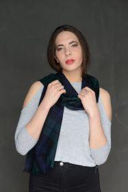 легкий тонкорунный экстра широкий шарф,  Black Watch Merino Tartan 100% шерсть мериноса, расцветка Черная Стража, плотность 2
