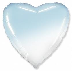 Шар (18''/46 см) Сердце, Голубой, Градиент, 1 шт., Flexmetal