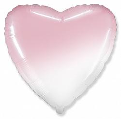 Шар (18''/46 см) Сердце, Розовый, Градиент, 1 шт., Flexmetal
