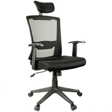 """Кресло руководителя Helmi HL-E31 """"Ergo"""", рег. подгол. и пояс. упор, мех. кач. """"Люкс"""", ткань черная"""