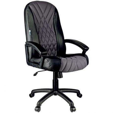 """Кресло руководителя Helmi HL-E85 """"Graphite"""", ткань TW серая/экокожа черная, мягкий подлокотник"""