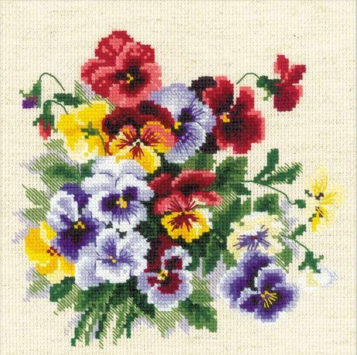 Набор для вышивания крестом Пестрые анютки №1516 фирма Риолис