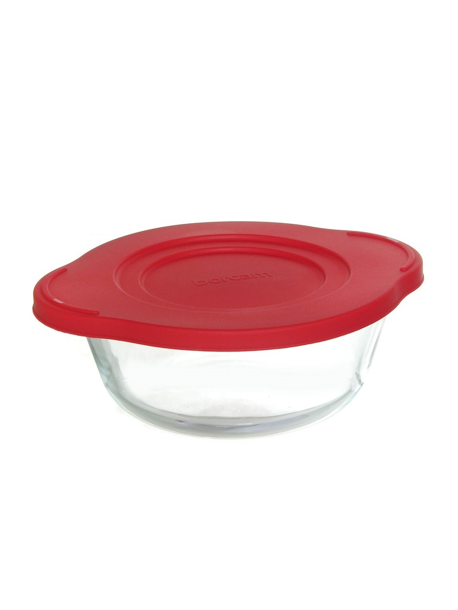 Кастрюля жаропрочная стеклянная 0,84 литра круглая с пластиковой крышкой Borcam 59133 круглая форма с крышкой 19х16х10 см