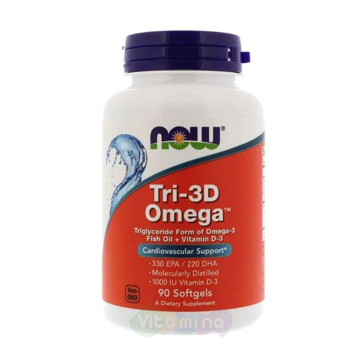 Now Foods Tri-3D Omega, Омега 3 с Витамином Д3, 90 капс.