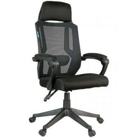 """Кресло руководителя Helmi HL-E32 """"Ergo"""" LUX, рег. подлок., подголов. и пояс. упор, ткань черная"""