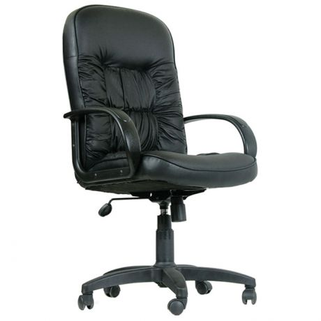 Кресло руководителя Chairman 416 PL, экокожа черная матовая, механизм качания