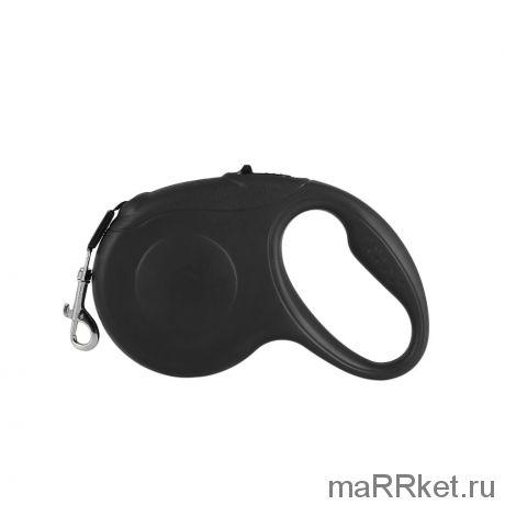 Рулетка - поводок для собак с механическим блокиратором длины Retractable Dog Leash (черный)