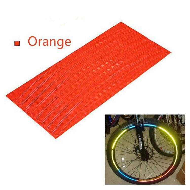 Наклейки на обод велосипеда светоотражающие 8 шт (цвет оранжевый)