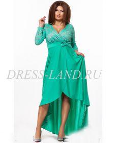 Ментоловое вечернее платье с кружевным лифом