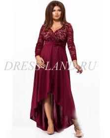 Бордовое вечернее платье с кружевным лифом