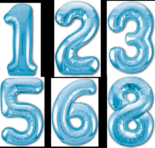 Цифра голубая шар фольгированный с гелием