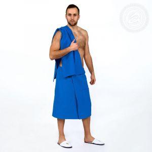 Набор для бани и сауны мужской (килт+полотенце) синий размер Универсальный на резинке