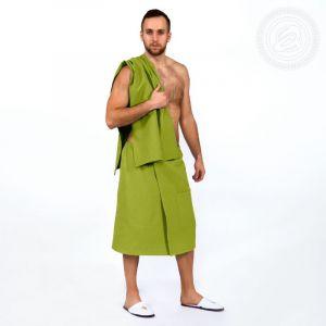 Набор для бани и сауны мужской (килт+полотенце) фисташка размер Универсальный на резинке