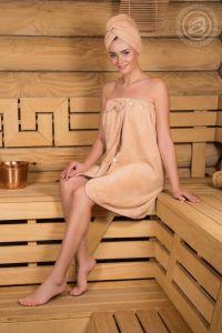 Набор для бани и сауны женский Бежевый размер Универсальный на резинке