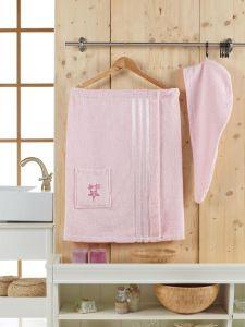 """Сауна женская """"SEVAKIN"""" махра арт: 10303-светло-розовый размер Универсальный на резинке"""