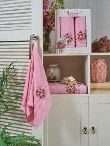 9731 Розовый MENEKSE (50х90+70х140 ) в коробке набор полотенец JUANNA