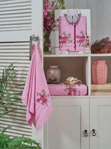 9732 Розовый JASMIN (50х90+70х140 ) в коробке набор полотенец JUANNA