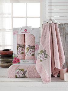 Розовый HIBISCUS арт.9724  (50х80+70х130 ) в коробке Набор полотенец  MERZUKA