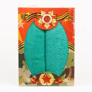 """Подарочный набор полотенец """"23 февраля"""" ПС-27-зеленый размер Набор из 2 штук"""