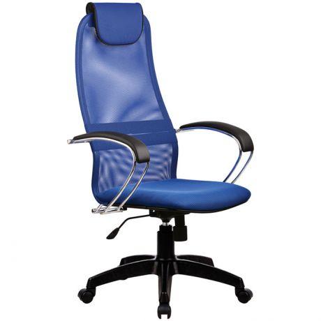 """Кресло руководителя Метта """"Business"""" BK-8 PL, ткань-сетка синяя №23, механизм качания"""