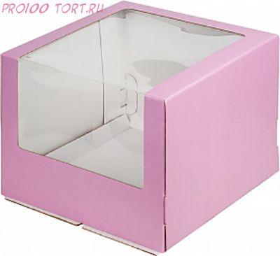 Коробка для торта 260х260х210 с окном РОЗОВАЯ