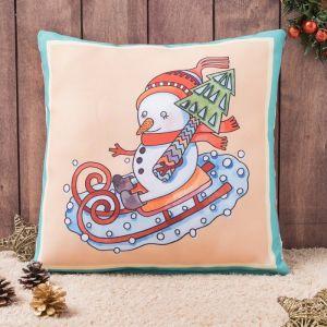 Подушка-игрушка декор. Веселый снеговик 01 40х40 см, габардин, синтетич.волокно, 160 гр/м, п   43777