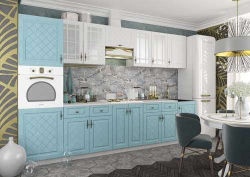 Кухонный гарнитур Гранд (крем,фиалка,зеленый)2,7м