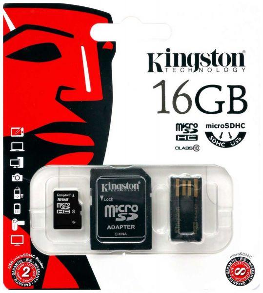 16GB Mobility Kit Kingston (Карта памяти MicroSD class 10 + SD-адаптер + USB-ридер G2)