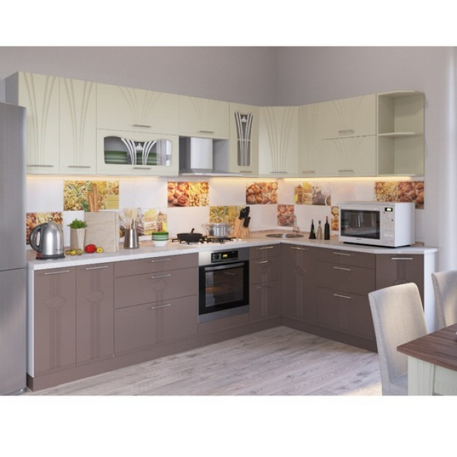 Кухонный гарнитур Лира ваниль/латте 2,4х1,9м