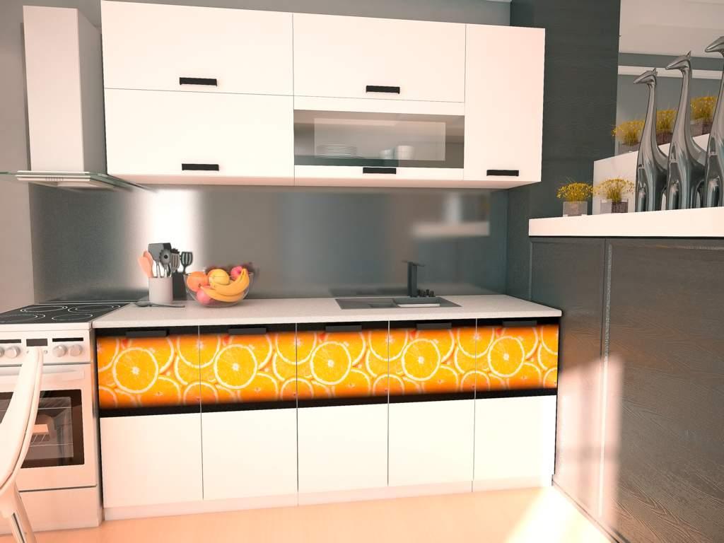 Кухонный гарнитур Флора белый/фотопечать 2,0м