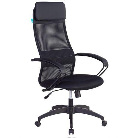 Кресло руководителя Бюрократ CH-608/BLACK, PL, спинка сетка черный TW-01, сиденье черный TW-11 искус