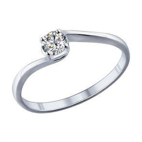 Помолвочное кольцо из серебра с фианитом 89010026 SOKOLOV